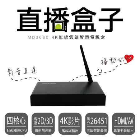 人因 直播盒子 MD3630 4K無線雲端智慧電視盒