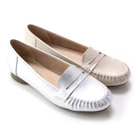 【GREEN PHOENIX】漫步旅行極簡寬版帶金屬珠光全真皮平底休閒鞋