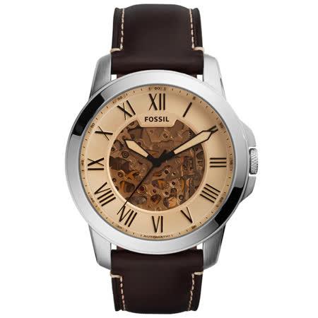 FOSSIL 流逝歲月經典機械錶-銀框玫瑰金x深咖啡皮帶