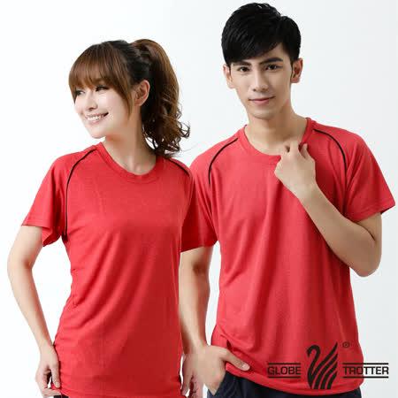 【遊遍天下】台灣製中性款涼感圓領吸濕排汗機能衫( 紅色S-5L) (品特)