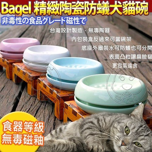 國際貓家bagel~貓及小型犬用陶瓷防蟻碗組