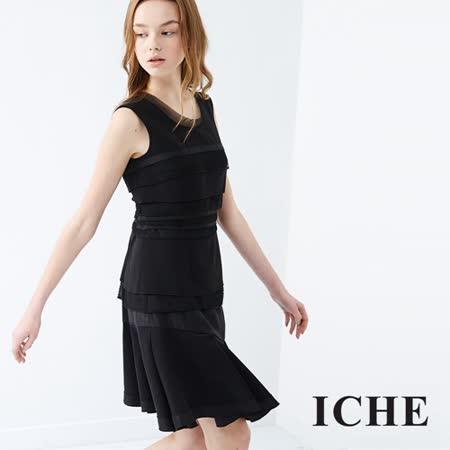 ICHE 衣哲 疊層拼接造型洋裝