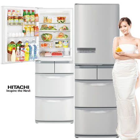 HITACHI日立420公升超一級節能變頻五門【左開】冰箱RS42EMJL(SH星燦不鏽鋼)【限定大台北都會地區】