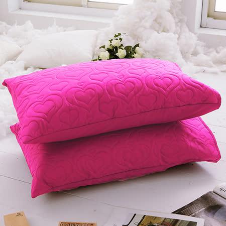 J-bedtime【愛情調色盤-熱戀桃】枕頭專用-絕美壓紋保潔枕墊(2入)