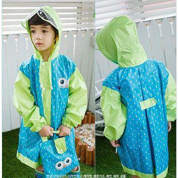 窩自在 韓國原創小眼睛兒童雨衣(加大透明帽檐)-綠色 (S/M/L)