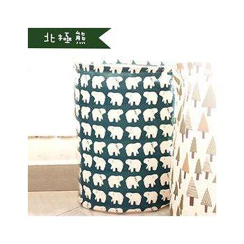 窩自在 日系印花棉麻加大衣物收納桶-北極熊 35*45cm