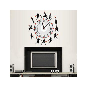 窩自在 韓版DIY創意壁貼時鐘-籃球風雲(附靜音機芯) (30X90)