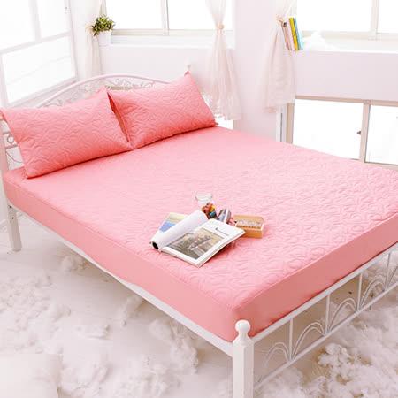 J-bedtime【愛情調色盤-熾戀橘】單人絕美壓紋床包式防汙保潔墊