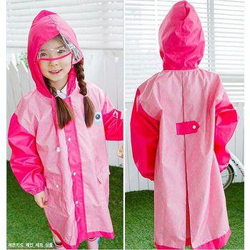 窩自在 韓國原創小眼睛兒童雨衣(加大透明帽檐)-枚紅色 (S/M/L)