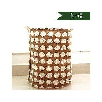 窩自在 日系印花棉麻加大衣物收納桶-刺蝟 35*45cm