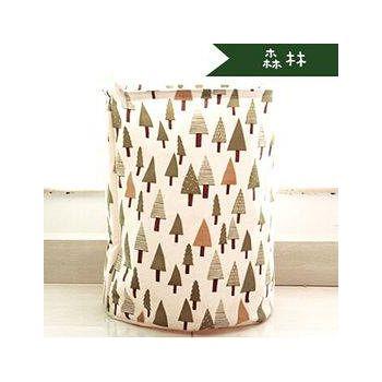 窩自在 日系印花棉麻加大衣物收納桶-森林 35*45cm