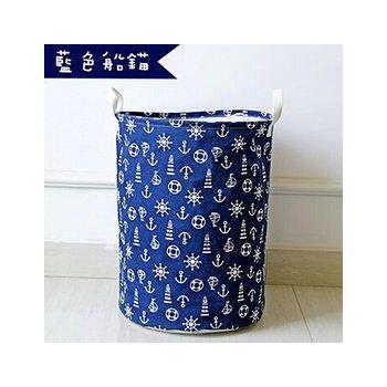 窩自在 日系印花棉麻加大衣物收納桶-藍色船錨 35*45cm