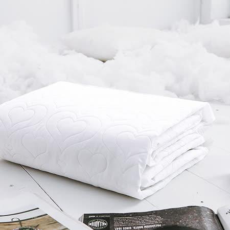 J-bedtime【愛情調色盤-輕戀白】單人絕美壓紋平單式防汙保潔墊