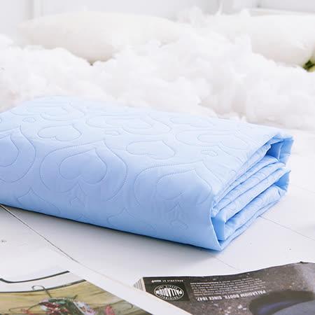J-bedtime【愛情調色盤-依戀青】加大絕美壓紋平單式防汙保潔墊