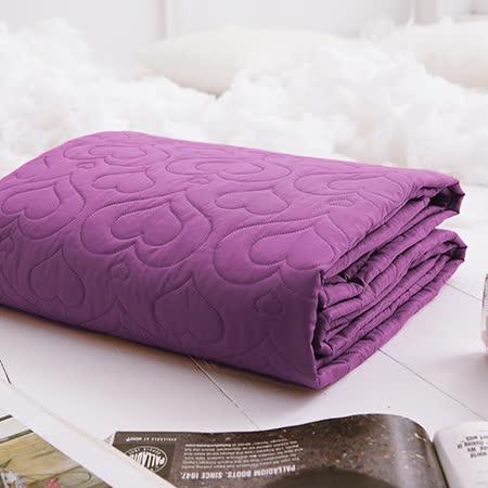 J-bedtime【愛情調色盤-狂戀紫】加大絕美壓紋平單式防汙保潔墊