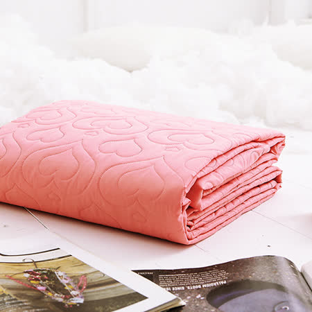 J-bedtime【愛情調色盤-熾熱橘】雙人絕美壓紋平單式防汙保潔墊