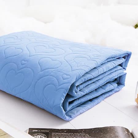 J-bedtime【愛情調色盤-眷戀藍】加大絕美壓紋平單式防汙保潔墊