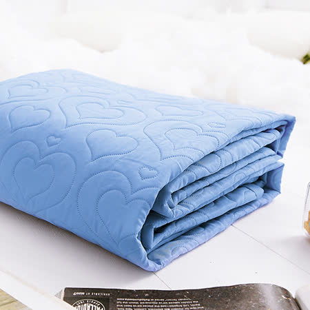 J-bedtime【愛情調色盤-眷戀藍】雙人絕美壓紋平單式防汙保潔墊