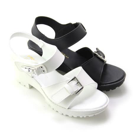 【Pretty】個性釦環沾黏式粗高跟涼鞋