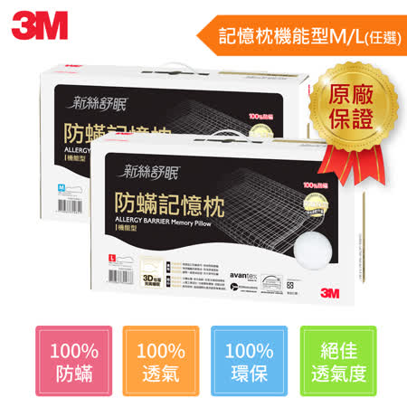 【團購1入】3M Filtrete淨呼吸防蹣記憶枕-機能型(M/L任選)