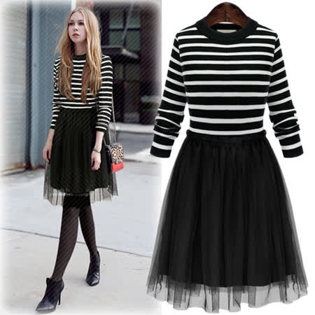 【E . A Runway】黑白條紋針織拼接紡紗假兩件連衣裙EA338