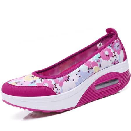 【Maya easy】增高搖擺鞋淑女淺口型氣墊好走鞋-35-40號【玫紅色】
