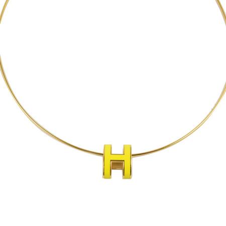 HERMES 時尚配件經典H LOGO橢圓銀飾項鍊.金/黃