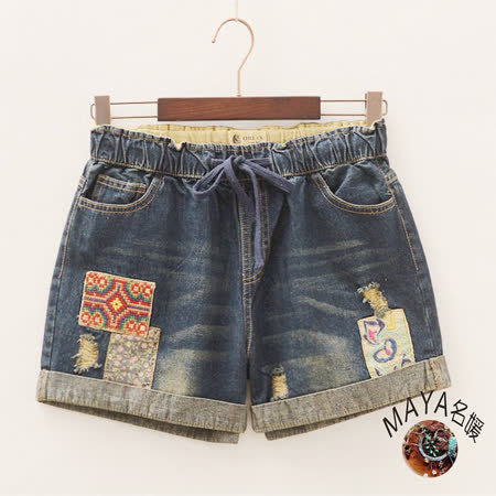 【Maya 名媛】夏季東方美感牛仔短褲十字紋貼布繡