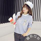 【韓系女衫】棉麻二用袖藍條紋半身貓咪貼布繡長衫