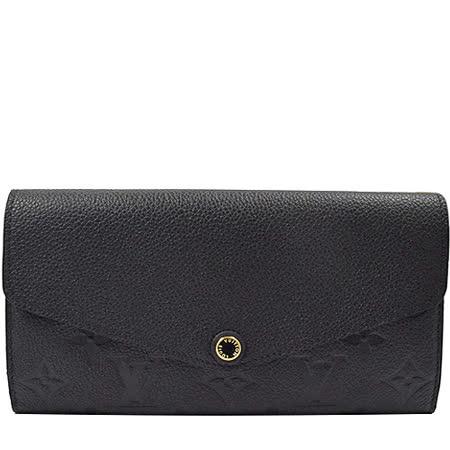 Louis Vuitton LV M61182 Sarah 經典花紋全皮革壓紋扣式長夾.黑_預購