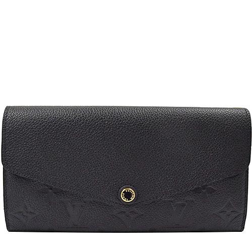 Louis Vuitton LV M61182 Sarah 花紋全皮革壓紋扣式長夾.黑_