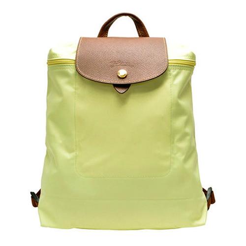 Longchamp Le Piage拉鍊尼龍輕巧後背包-茴香綠