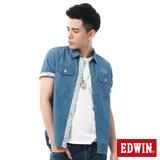 EDWIN 雙口袋棕梠印花短袖牛仔襯衫-男-酵洗藍