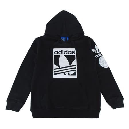 adidas Originals三葉草標誌STR GRAPH OTH長袖帽T(男/黑+白)