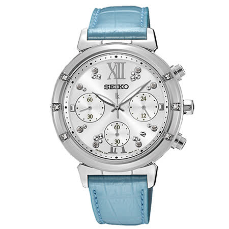 SEIKO LUKIA 限量藍色璀璨太陽能計時碼錶-銀x藍/36mm/V175-0DF0B(SSC856J1)