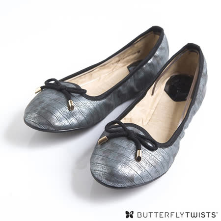 BUTTERFLY TWISTS - FRANCESCA可折疊扭轉芭蕾舞鞋-鱷魚壓紋銀