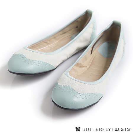 BUTTERFLY TWISTS - AUDREY可折疊扭轉芭蕾舞鞋-白/淡藍