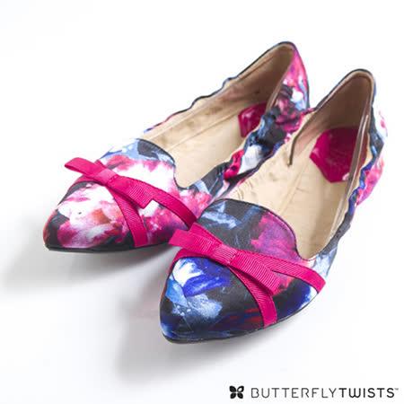 BUTTERFLY TWISTS - JAIME可折疊扭轉芭蕾舞鞋-花漾莓果紅