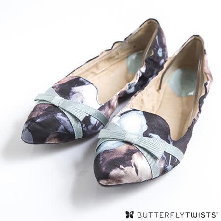 BUTTERFLY TWISTS - JAIME可折疊扭轉芭蕾舞鞋-花漾淡粉藍