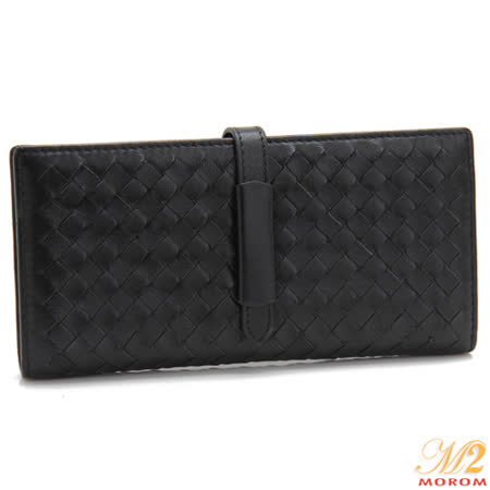 【MOROM】羊皮簡約編織長夾(黑色)636
