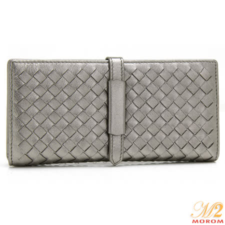 【MOROM】羊皮簡約編織長夾(銀色)636