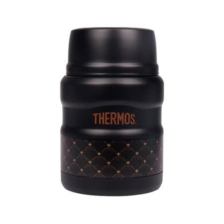 THERMOS膳魔師 不鏽鋼真空保溫燜燒食物罐0.47L 時尚菱格(SK3000-DBK)