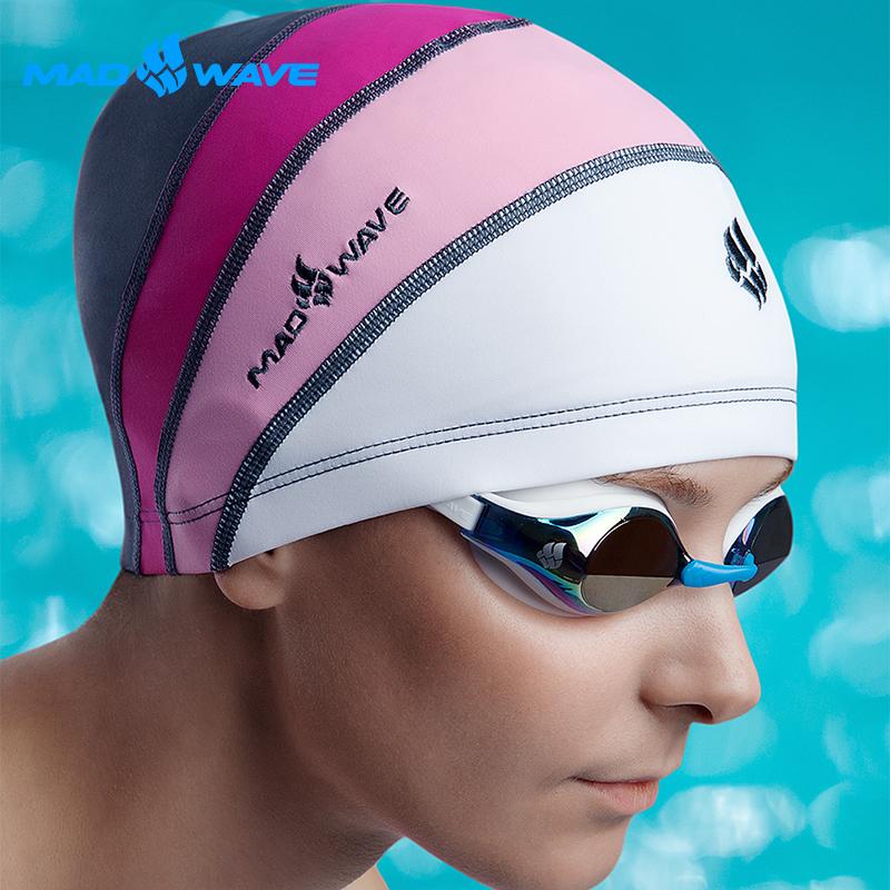 俄羅斯MADWAVE女性專大 远 百 台中用萊卡泳帽 LONGHAIR贈送Barracuda醫療耳塞