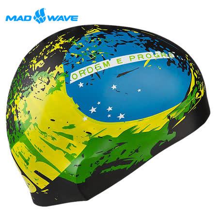 俄羅斯MADWAVE成人矽膠泳帽 BRAZIL贈送Barracuda醫療耳塞