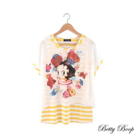 【Betty Boop貝蒂】亮膠花朵彩圖條紋兩件式上衣(共二色)