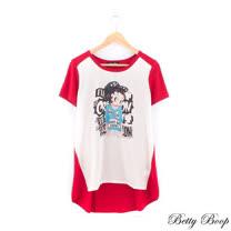 【Betty Boop貝蒂】貼鑽雪紡彩圖天絲棉長版上衣(共二色)