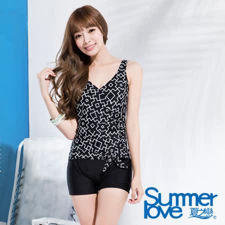【SUMMERLOVE夏之戀】時尚大女加大碼連身四角泳衣(S16708)