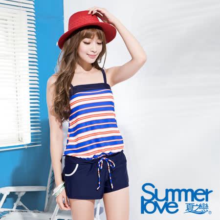 【SUMMERLOVE 夏之戀】亮彩條紋大女連身褲兩件式泳衣(S16738)