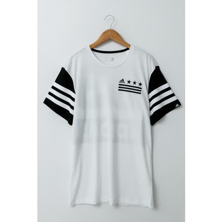 Adidas(男)圓領T(短)-黑白-AI6051