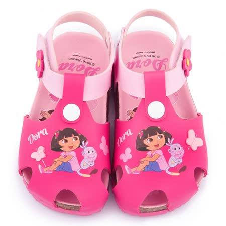 童鞋城堡-朵拉 中童 護趾型軟木風格涼鞋DR3092-桃